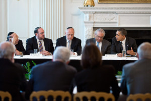 President Barack Obama meets with the Conference of Presidents of Major American Jewish Organizations in the State Dining Room of the White House, March 1, 2011.