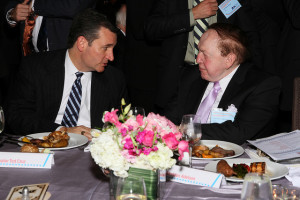 Ted Cruz and mega donor Sheldon Adelson at ZOA annual dinner